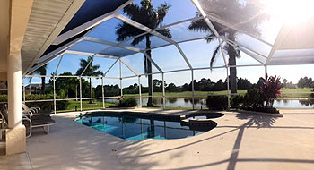 Pool looking across to the golf course