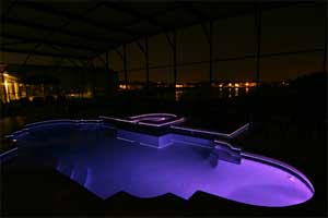 Pool at night Blue