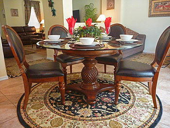 Dining area with Key West style furniture