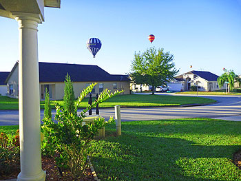 Hot air balloons passing our villa