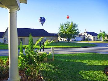 Hot air balloons passing our villa