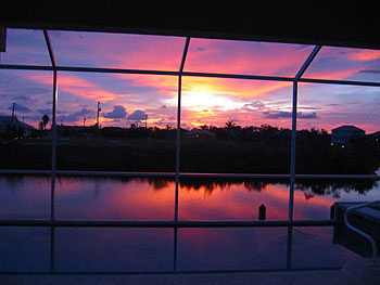 View of the Sunset from the Pool