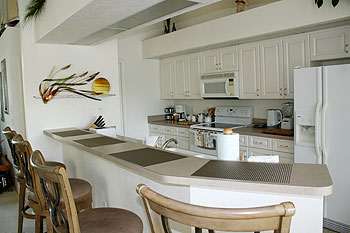 The kitchen with breakfast or anytime bar!