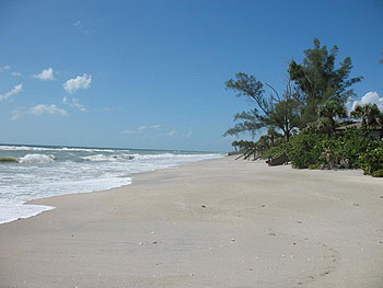 One of the lovely, white sand beaches