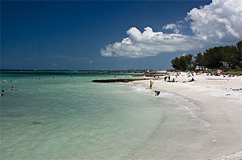 Coquina Beach: one of the great famous white sandy beaches