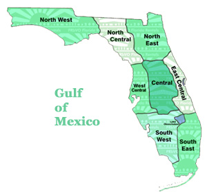 Florida map showing regions